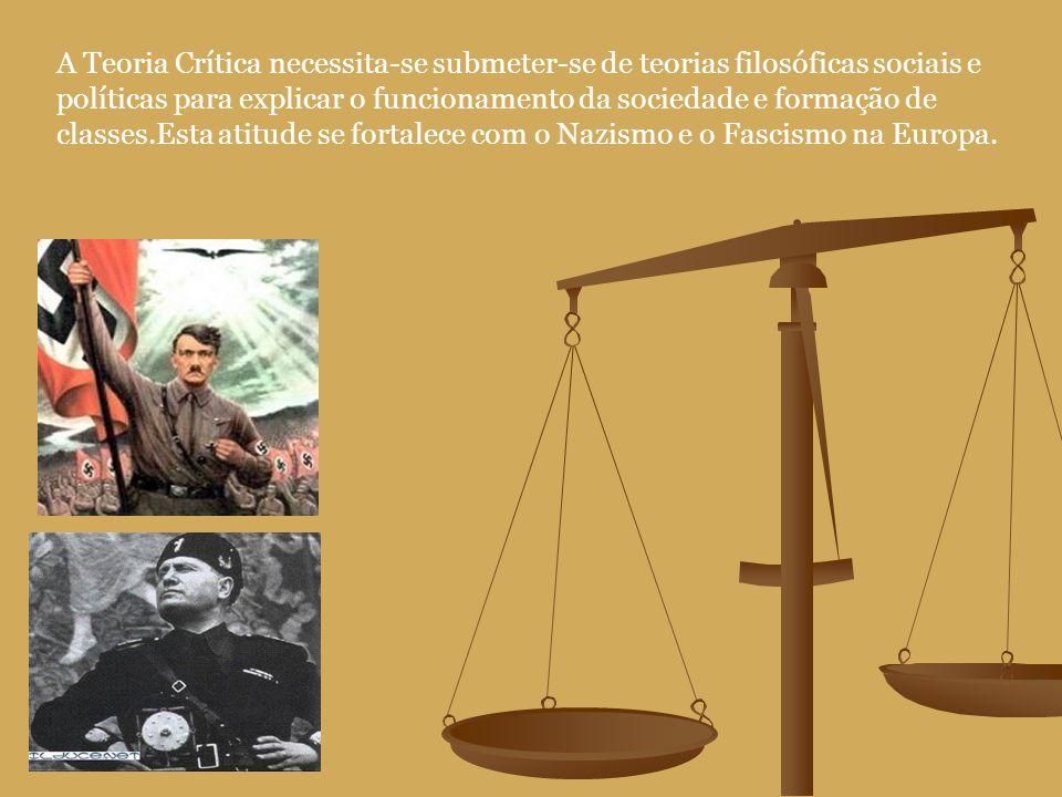 A Teoria Crítica necessita-se submeter-se de teorias filosóficas sociais e políticas para explicar o funcionamento da sociedade e formação de classes.Esta atitude se fortalece com o Nazismo e o Fascismo na Europa.