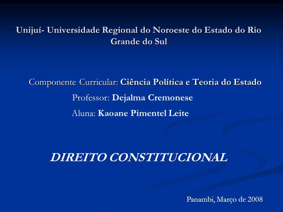 Componente Curricular: Ciência Política e Teoria do Estado