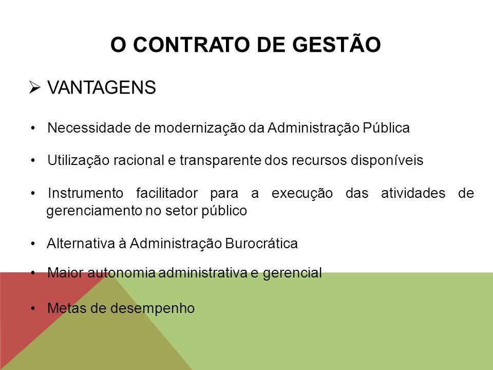 O CONTRATO DE GESTÃO VANTAGENS