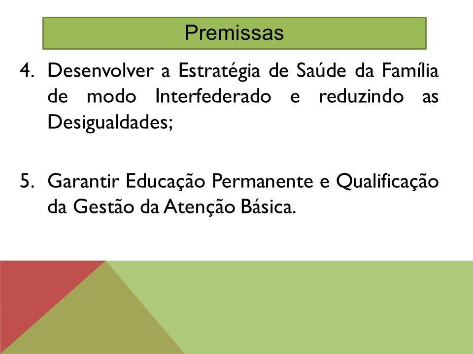 Premissas Desenvolver a Estratégia de Saúde da Família de modo Interfederado e reduzindo as Desigualdades;