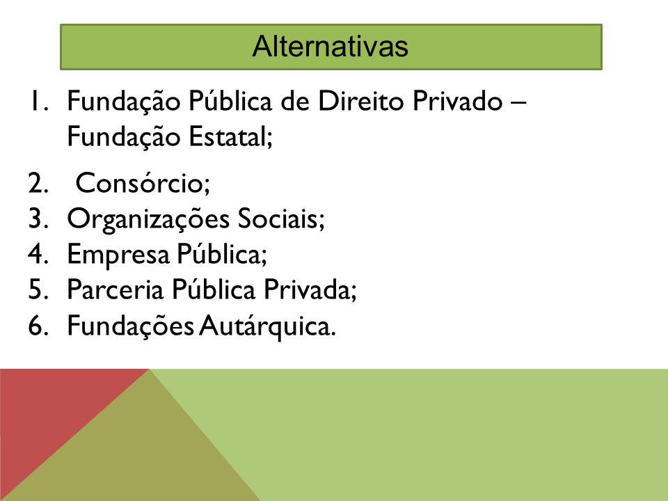 Fundação Pública de Direito Privado – Fundação Estatal; Consórcio;