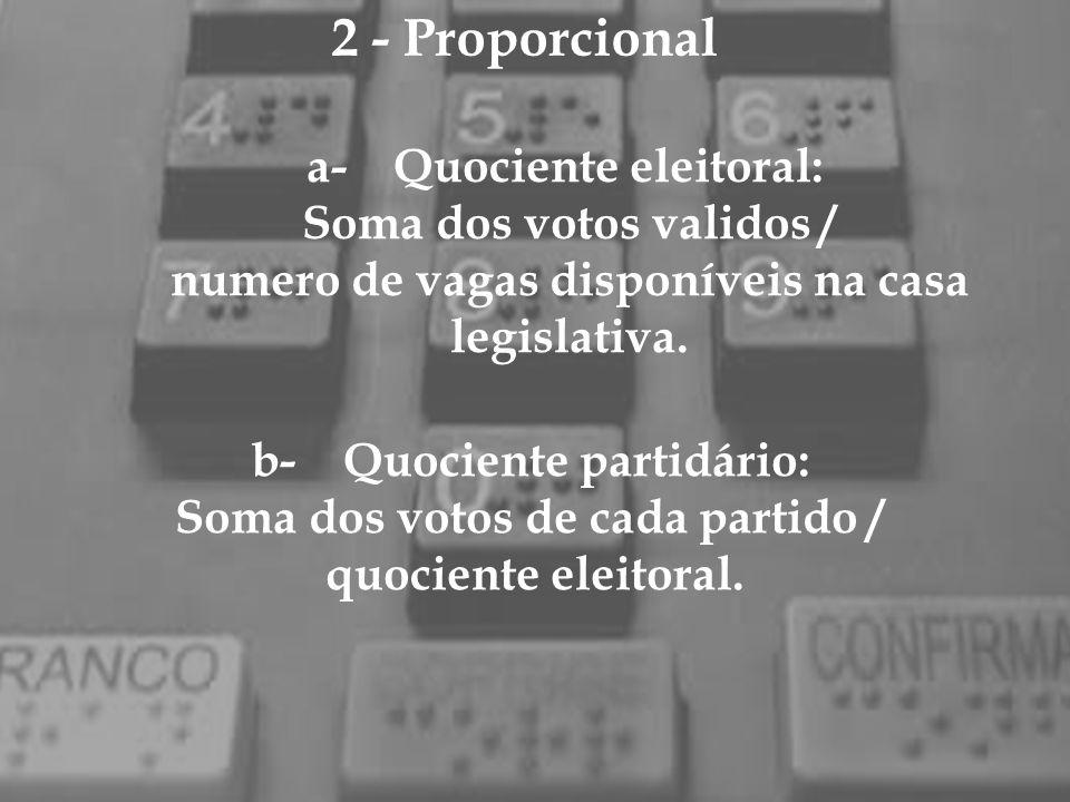 2 - Proporcional a- Quociente eleitoral: Soma dos votos validos /