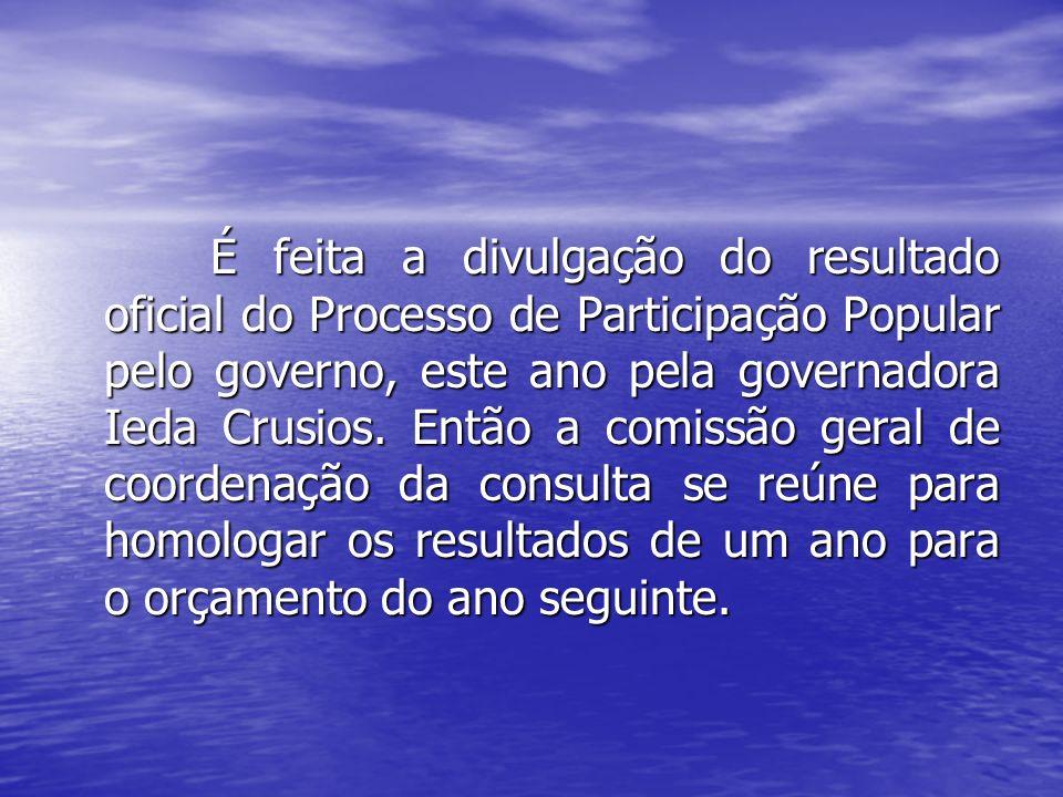 É feita a divulgação do resultado oficial do Processo de Participação Popular pelo governo, este ano pela governadora Ieda Crusios.