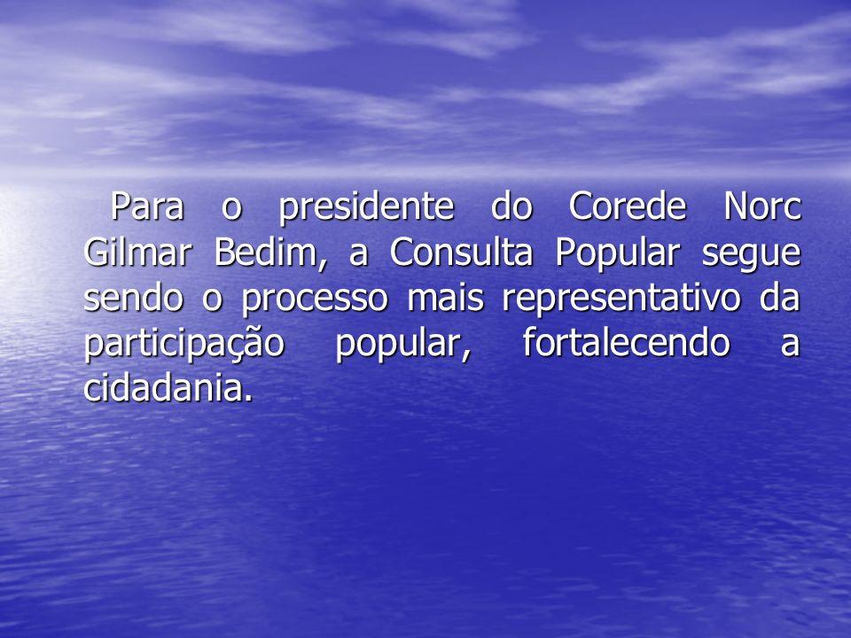 Para o presidente do Corede Norc Gilmar Bedim, a Consulta Popular segue sendo o processo mais representativo da participação popular, fortalecendo a cidadania.