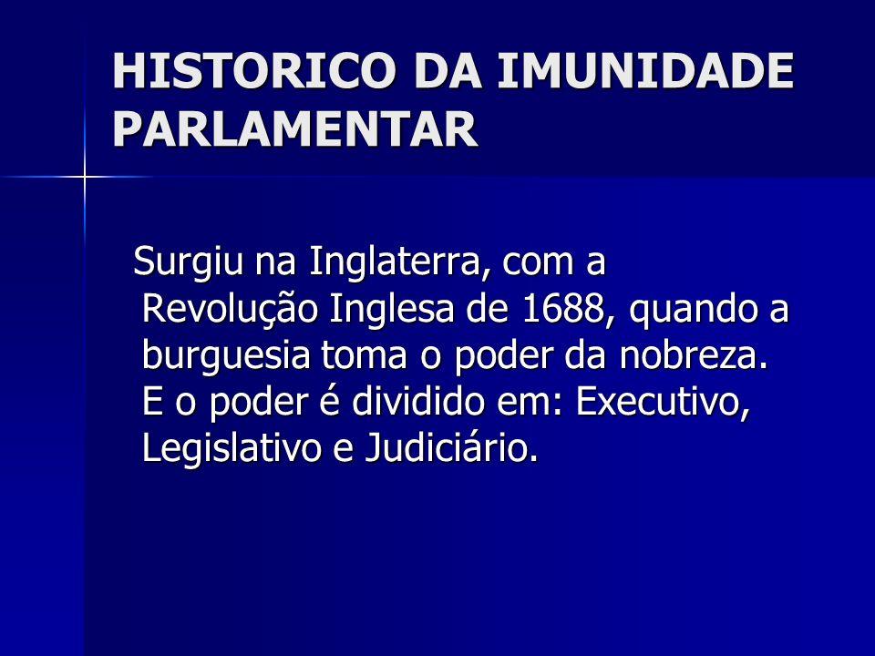 HISTORICO DA IMUNIDADE PARLAMENTAR