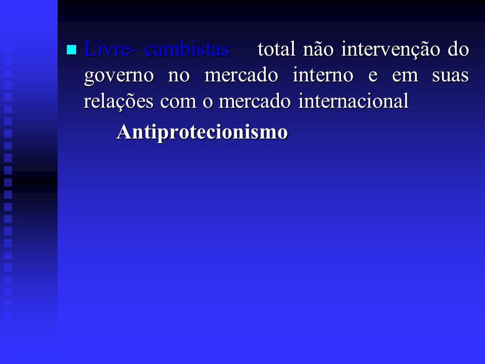 Livre- cambistas total não intervenção do governo no mercado interno e em suas relações com o mercado internacional