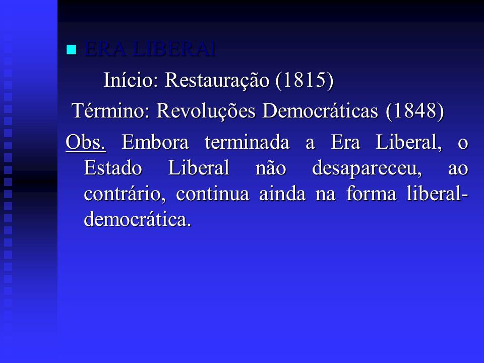ERA LIBERAl Início: Restauração (1815) Término: Revoluções Democráticas (1848)
