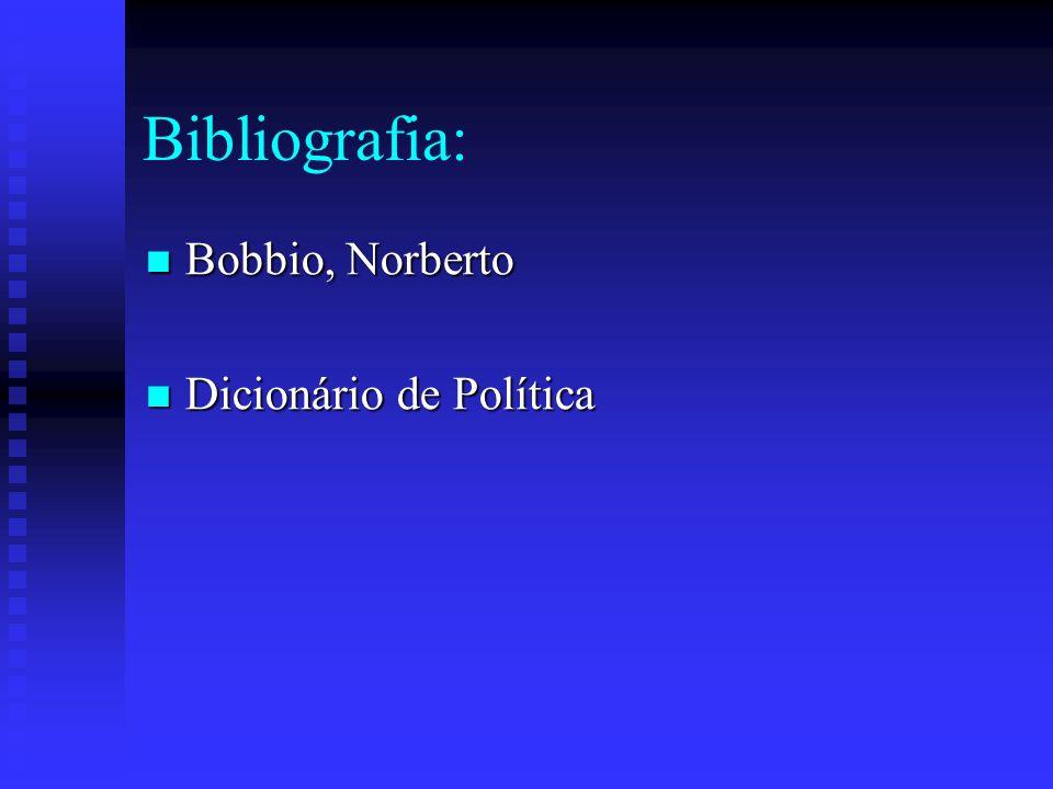 Bibliografia: Bobbio, Norberto Dicionário de Política