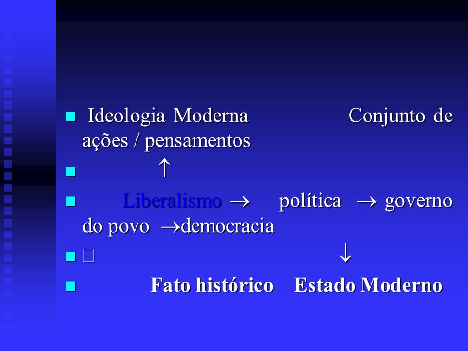 Ideologia Moderna Conjunto de ações / pensamentos