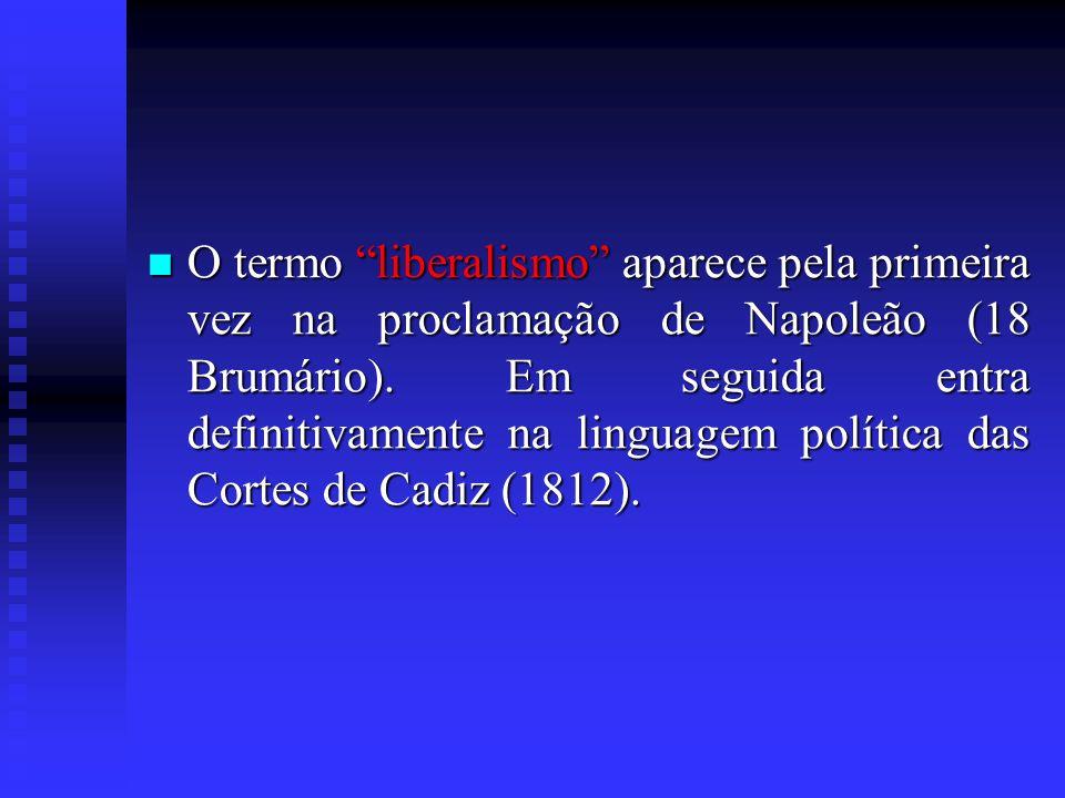 O termo liberalismo aparece pela primeira vez na proclamação de Napoleão (18 Brumário).