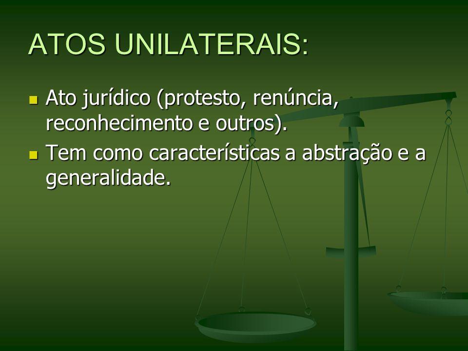 ATOS UNILATERAIS:Ato jurídico (protesto, renúncia, reconhecimento e outros).