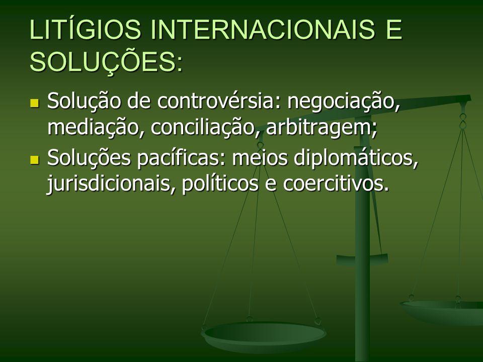 LITÍGIOS INTERNACIONAIS E SOLUÇÕES: