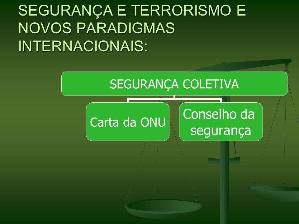 SEGURANÇA E TERRORISMO E NOVOS PARADIGMAS INTERNACIONAIS: