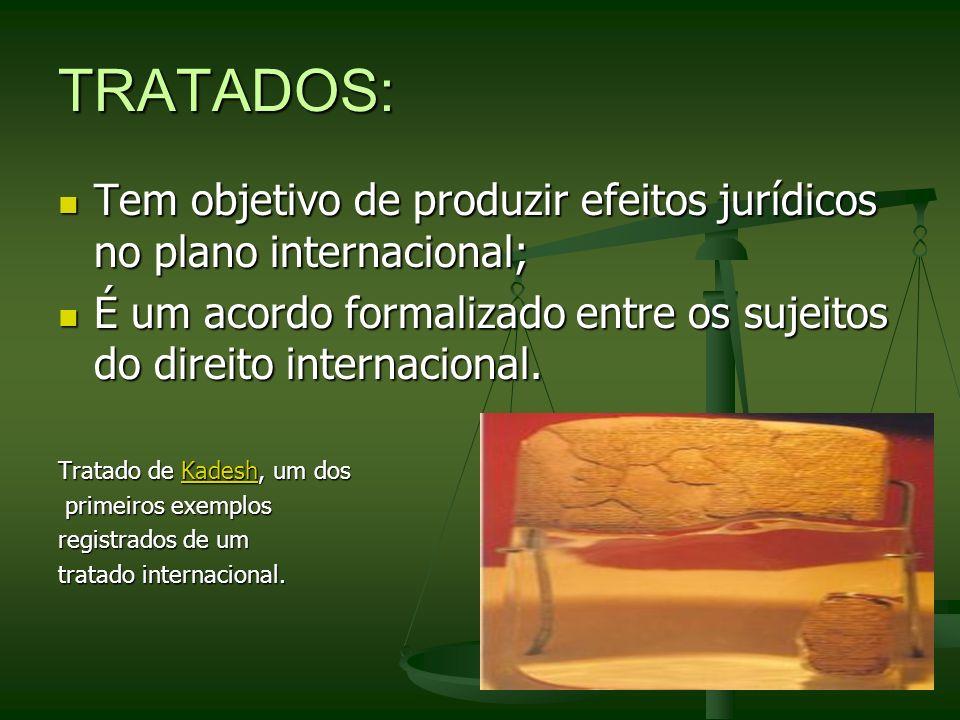 TRATADOS:Tem objetivo de produzir efeitos jurídicos no plano internacional; É um acordo formalizado entre os sujeitos do direito internacional.