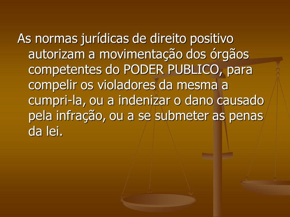 As normas jurídicas de direito positivo autorizam a movimentação dos órgãos competentes do PODER PUBLICO, para compelir os violadores da mesma a cumpri-la, ou a indenizar o dano causado pela infração, ou a se submeter as penas da lei.