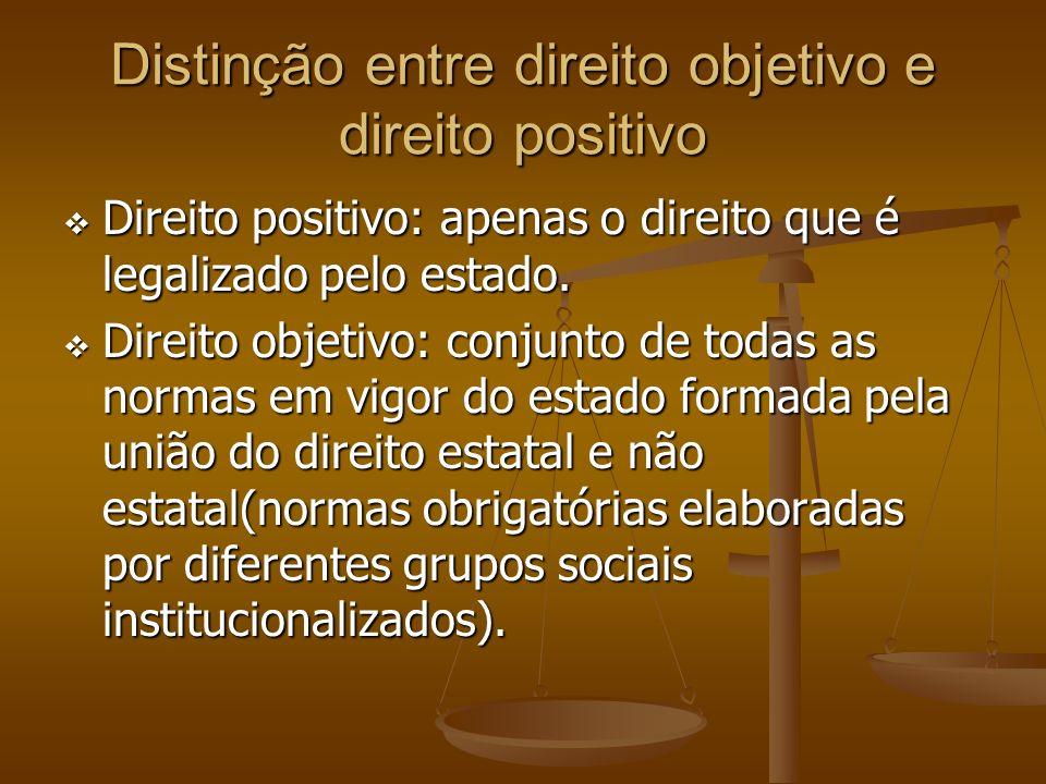 Distinção entre direito objetivo e direito positivo