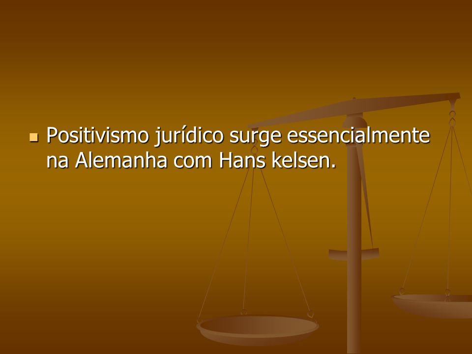 Positivismo jurídico surge essencialmente na Alemanha com Hans kelsen.