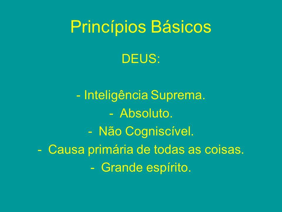 Princípios Básicos DEUS: - Inteligência Suprema. Absoluto.