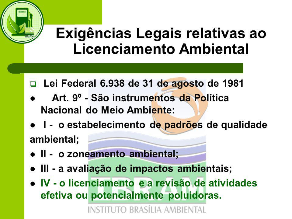 Exigências Legais relativas ao Licenciamento Ambiental