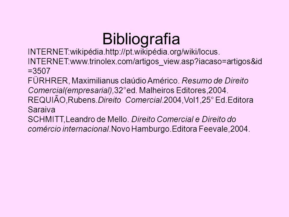 Bibliografia INTERNET:wikipédia.http://pt.wikipédia.org/wiki/locus.