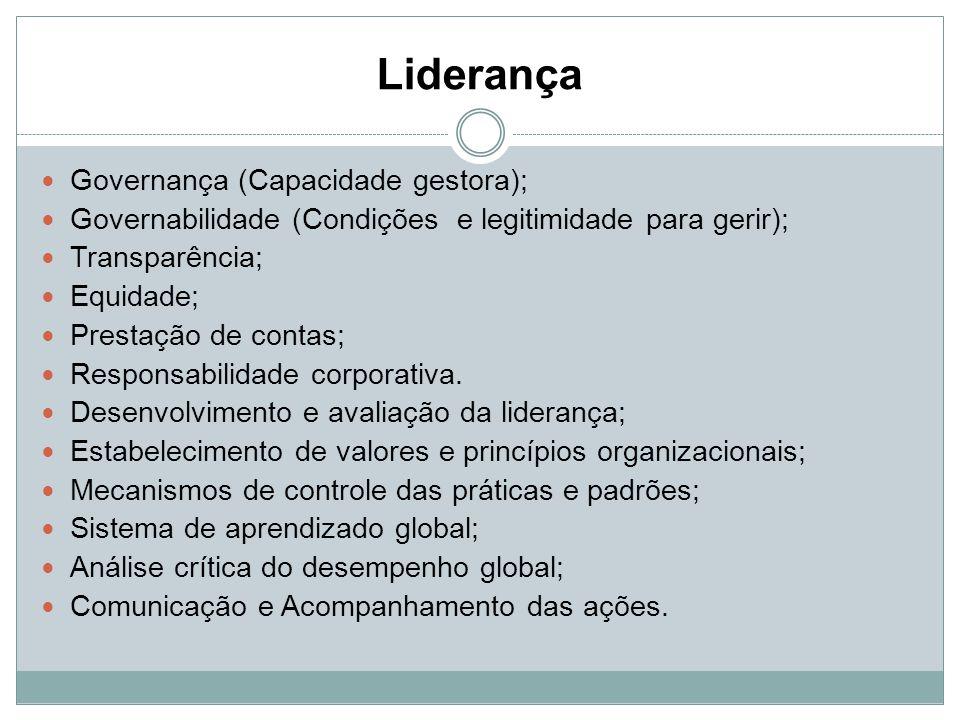 Liderança Governança (Capacidade gestora);