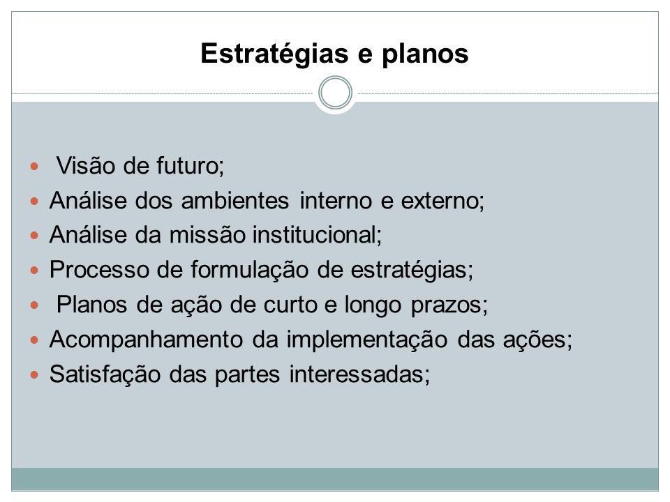 Estratégias e planos Visão de futuro;