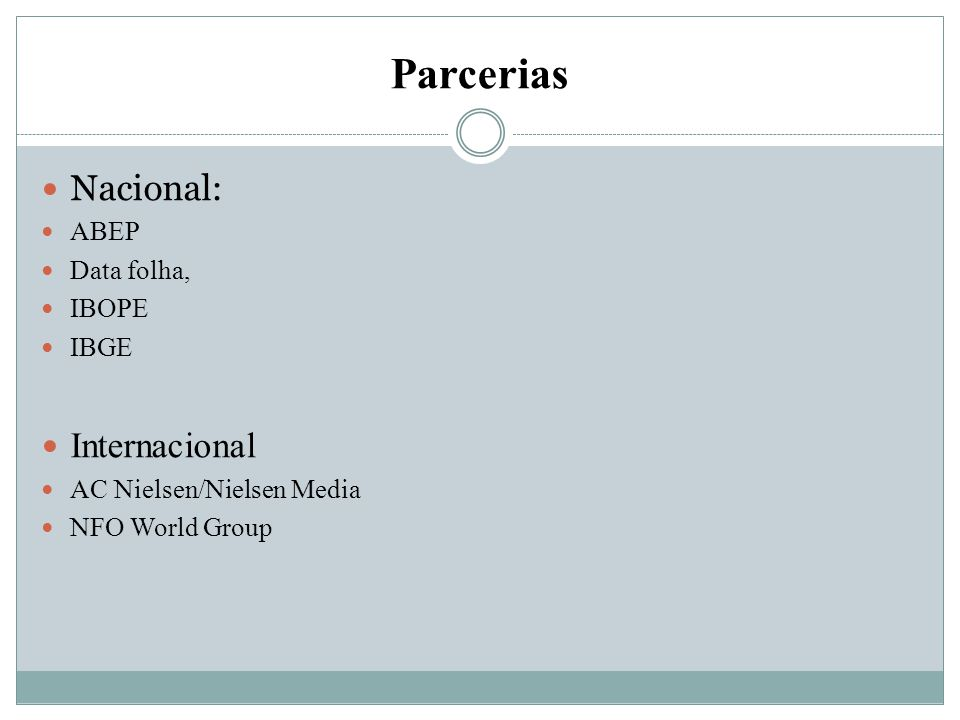 Parcerias Nacional: Internacional ABEP Data folha, IBOPE IBGE