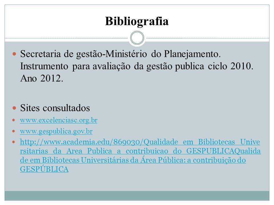 Bibliografia Secretaria de gestão-Ministério do Planejamento. Instrumento para avaliação da gestão publica ciclo 2010. Ano 2012.