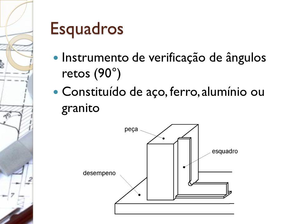 Esquadros Instrumento de verificação de ângulos retos (90°)