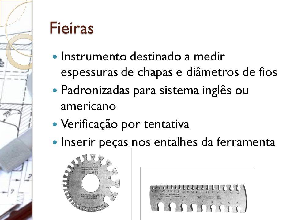 Fieiras Instrumento destinado a medir espessuras de chapas e diâmetros de fios. Padronizadas para sistema inglês ou americano.
