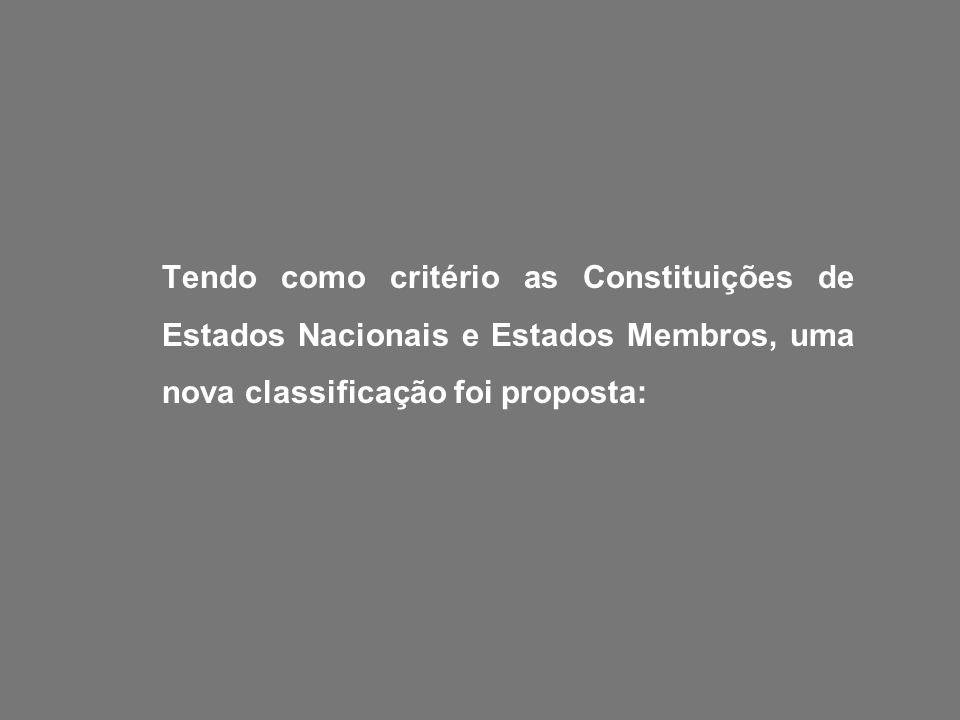 Tendo como critério as Constituições de Estados Nacionais e Estados Membros, uma nova classificação foi proposta: