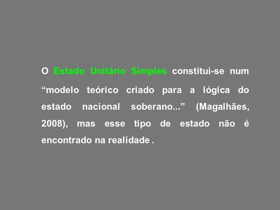 O Estado Unitário Simples constitui-se num modelo teórico criado para a lógica do estado nacional soberano... (Magalhães, 2008), mas esse tipo de estado não é encontrado na realidade .