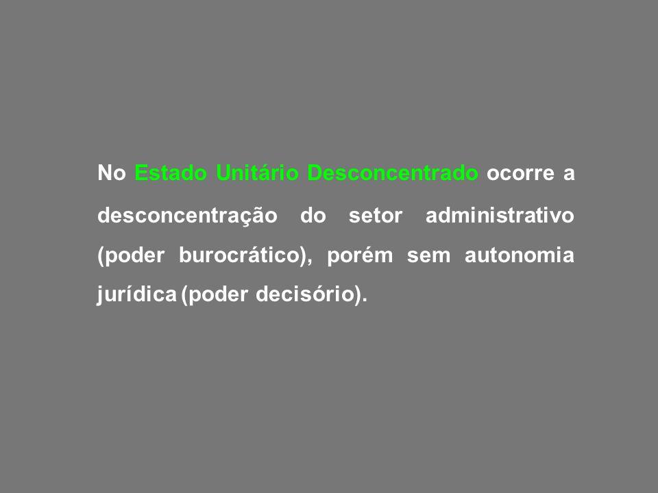 No Estado Unitário Desconcentrado ocorre a desconcentração do setor administrativo (poder burocrático), porém sem autonomia jurídica (poder decisório).