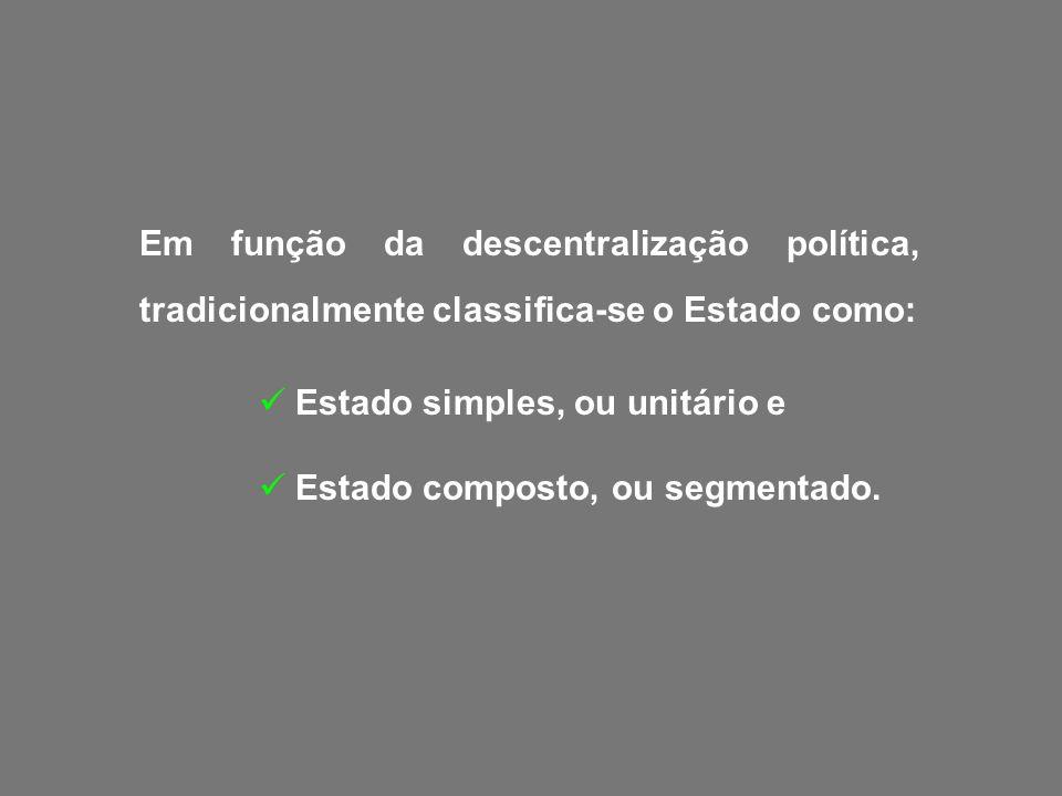 Em função da descentralização política, tradicionalmente classifica-se o Estado como: