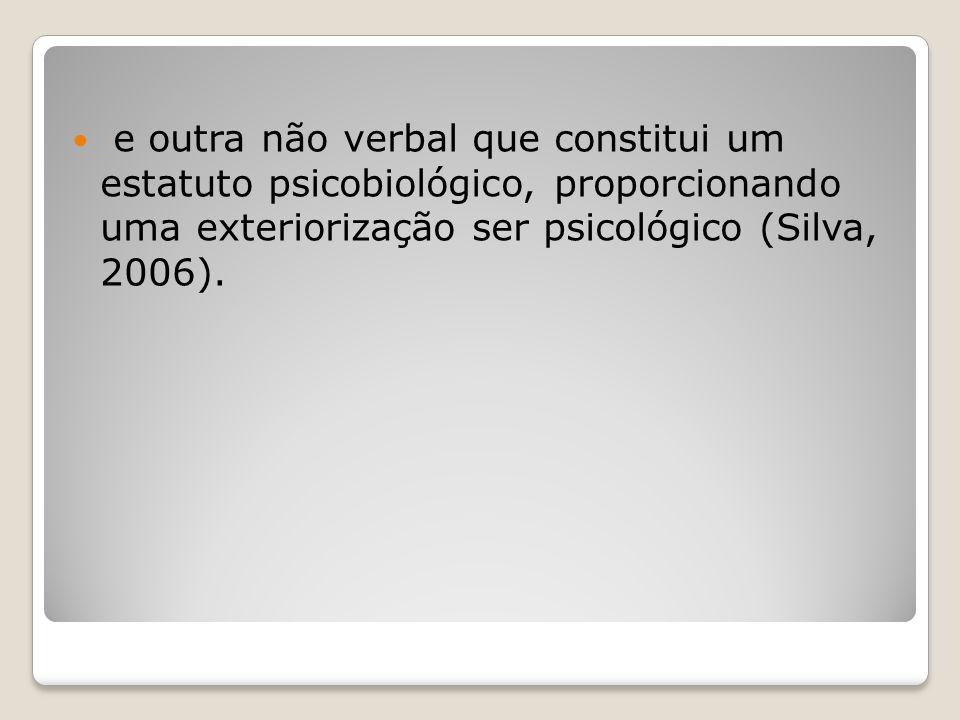 e outra não verbal que constitui um estatuto psicobiológico, proporcionando uma exteriorização ser psicológico (Silva, 2006).