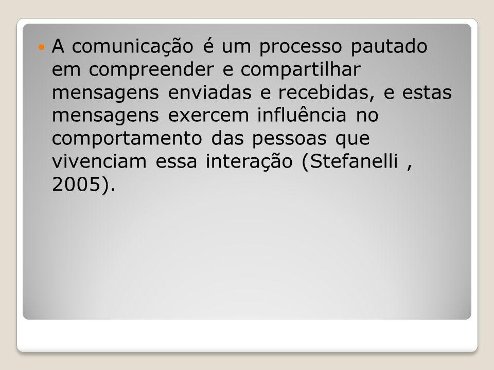 A comunicação é um processo pautado em compreender e compartilhar mensagens enviadas e recebidas, e estas mensagens exercem influência no comportamento das pessoas que vivenciam essa interação (Stefanelli , 2005).