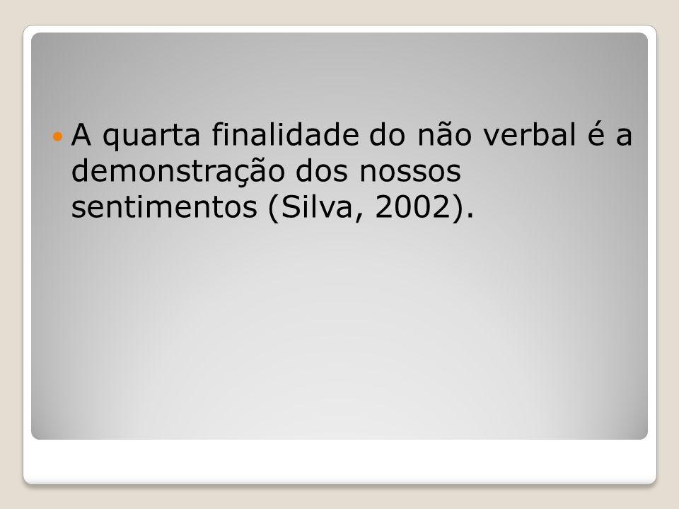 A quarta finalidade do não verbal é a demonstração dos nossos sentimentos (Silva, 2002).