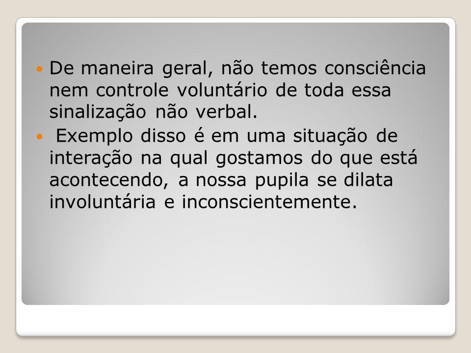 De maneira geral, não temos consciência nem controle voluntário de toda essa sinalização não verbal.