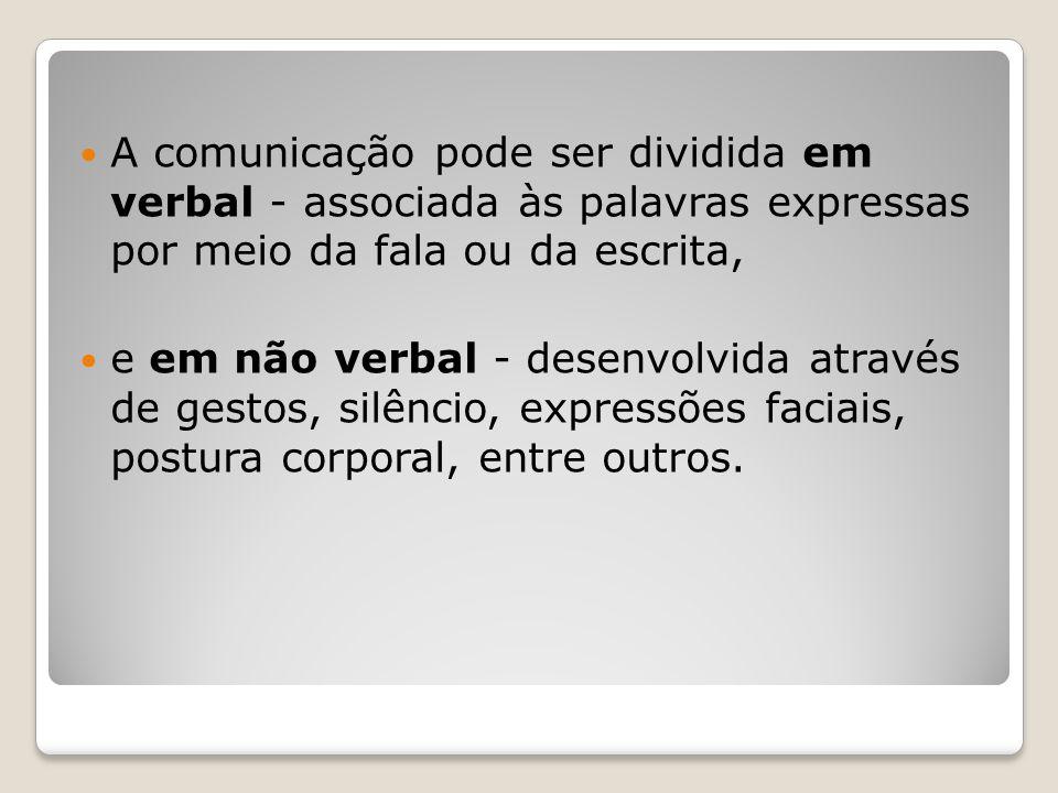 A comunicação pode ser dividida em verbal - associada às palavras expressas por meio da fala ou da escrita,