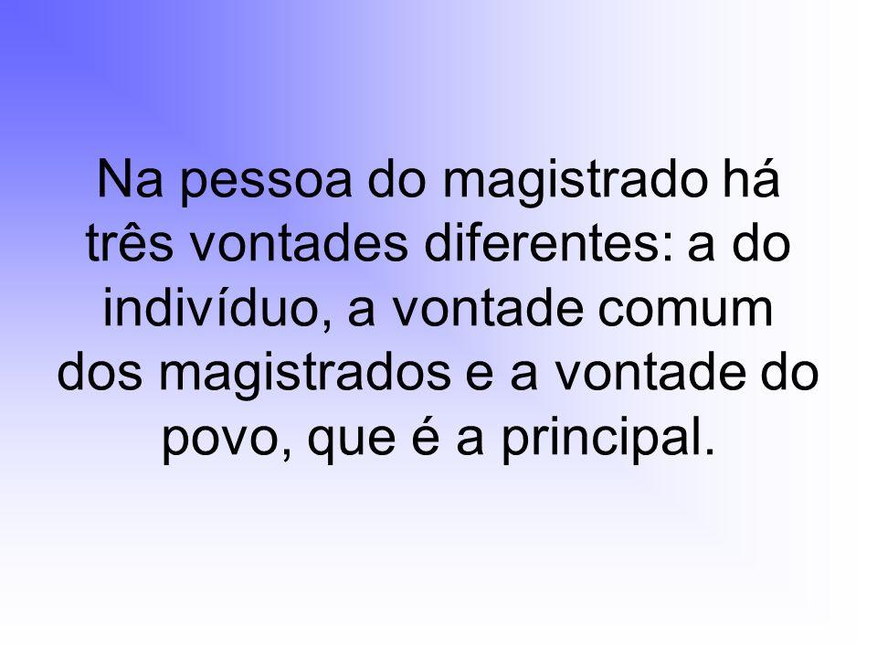 Na pessoa do magistrado há três vontades diferentes: a do indivíduo, a vontade comum dos magistrados e a vontade do povo, que é a principal.