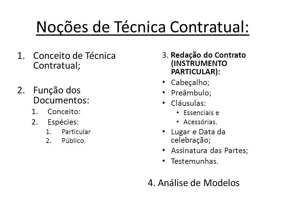 Noções de Técnica Contratual: