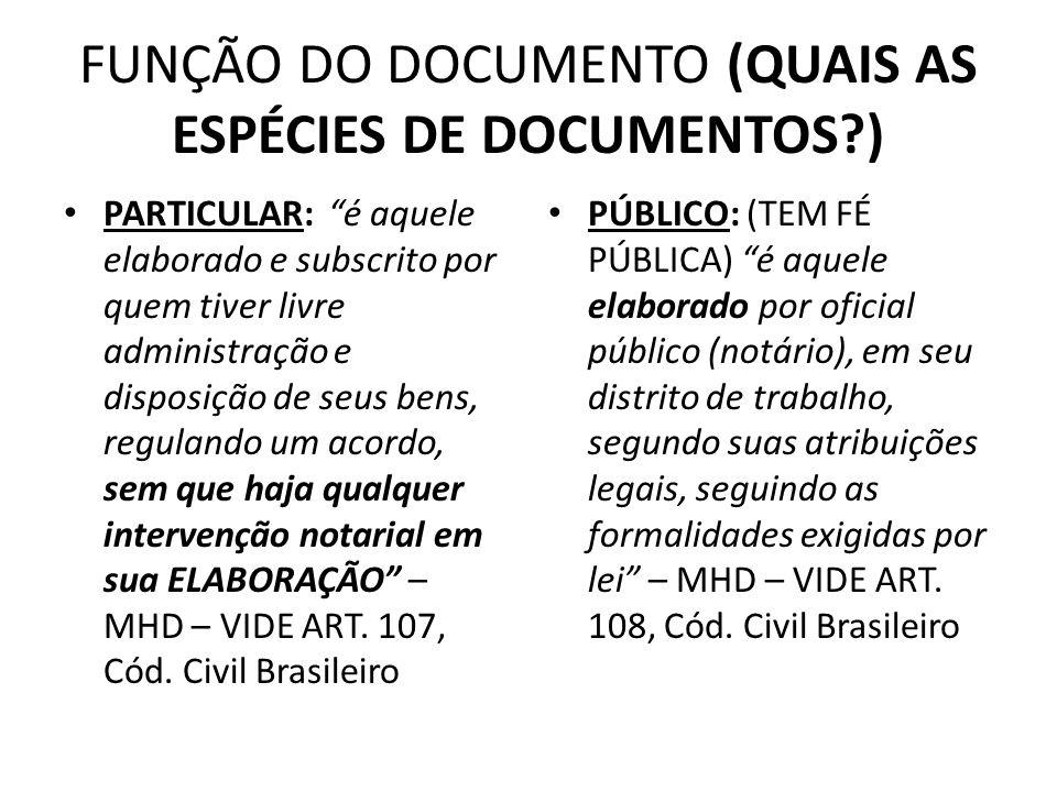 FUNÇÃO DO DOCUMENTO (QUAIS AS ESPÉCIES DE DOCUMENTOS )