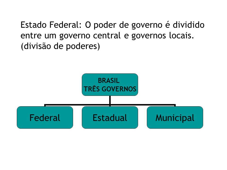 Estado Federal: O poder de governo é dividido entre um governo central e governos locais.