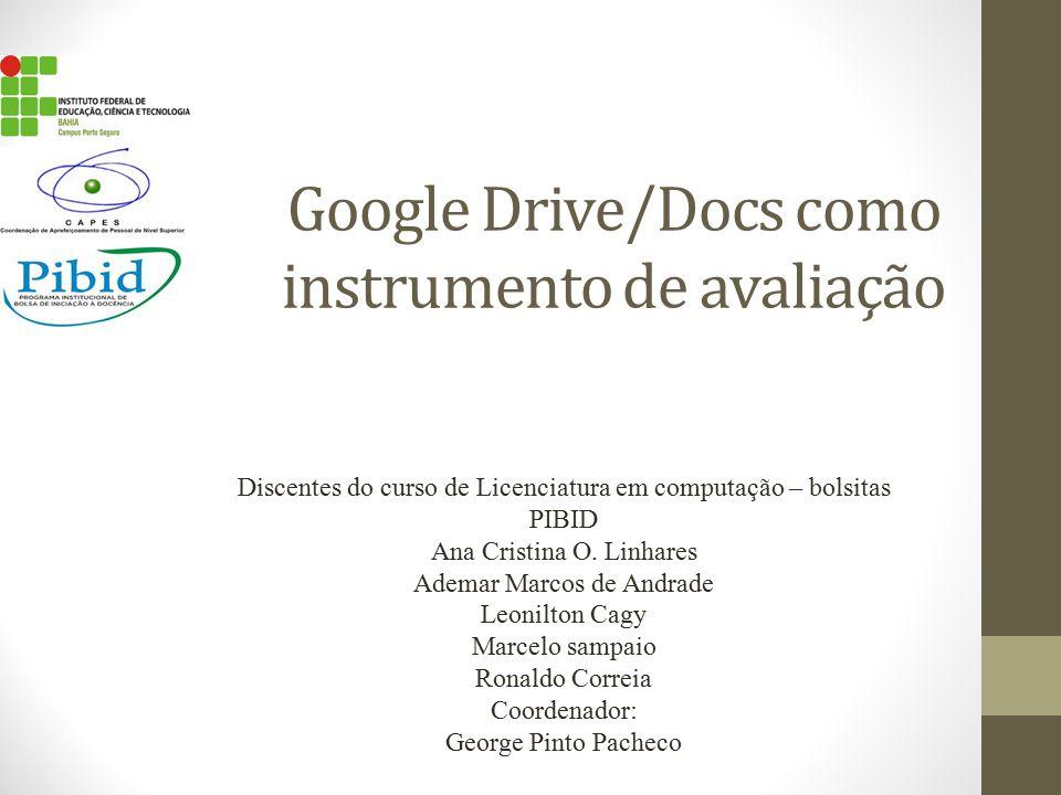 Google Drive/Docs como instrumento de avaliação