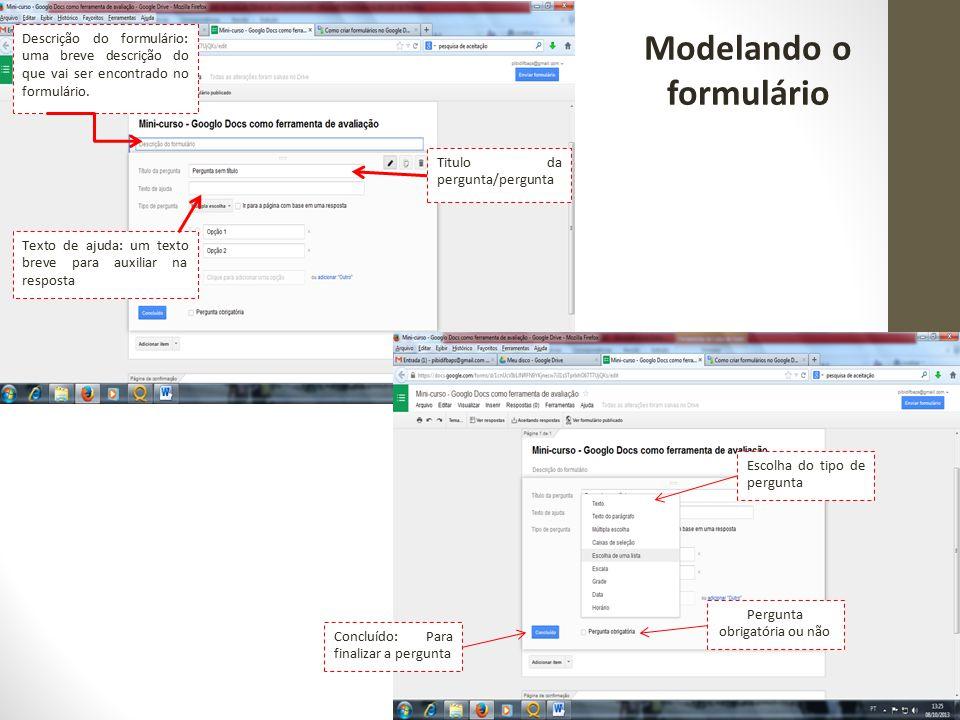Modelando o formulário