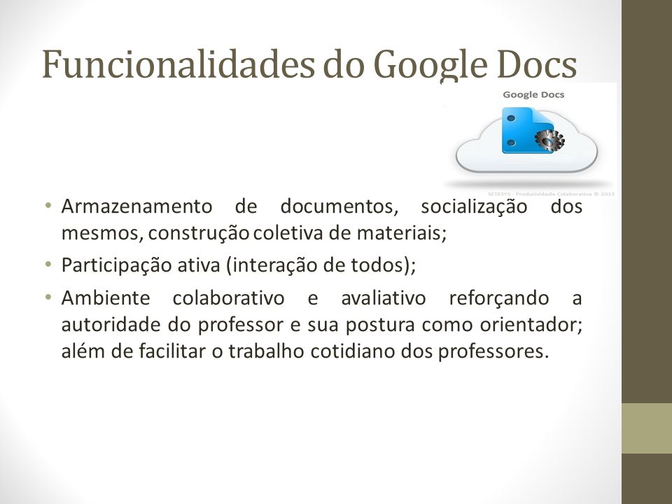 Funcionalidades do Google Docs