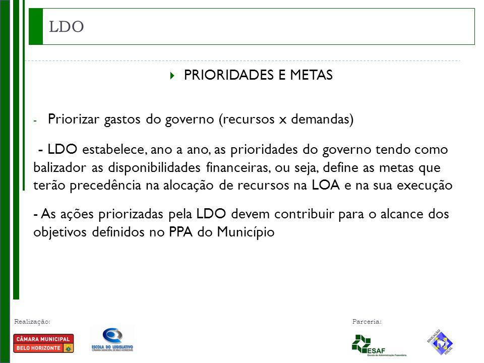 LDO PRIORIDADES E METAS. Priorizar gastos do governo (recursos x demandas)