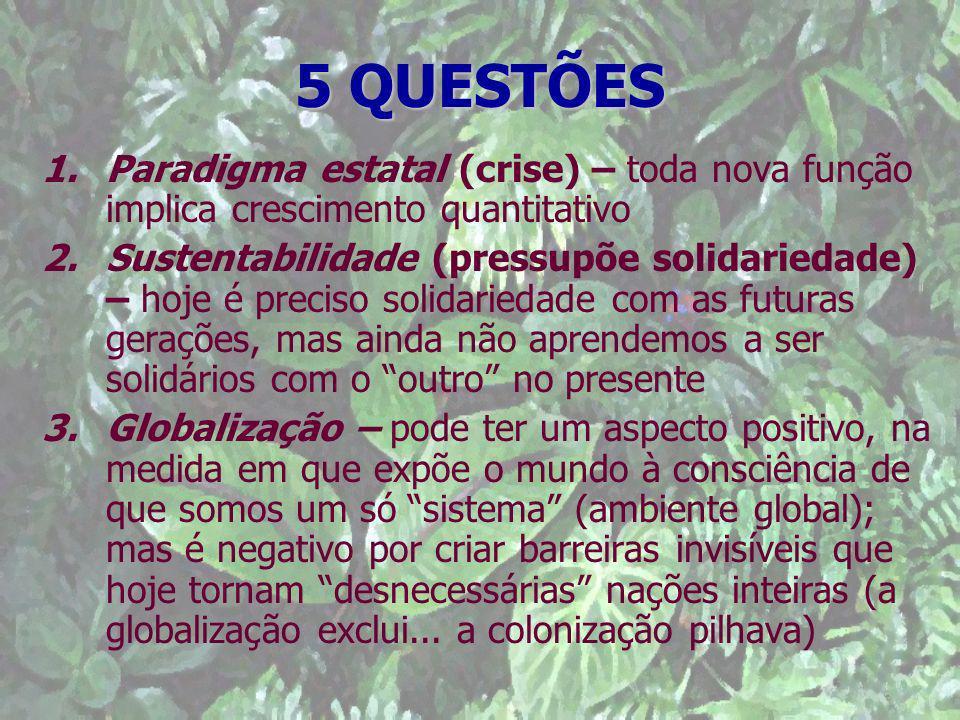 5 QUESTÕES Paradigma estatal (crise) – toda nova função implica crescimento quantitativo.