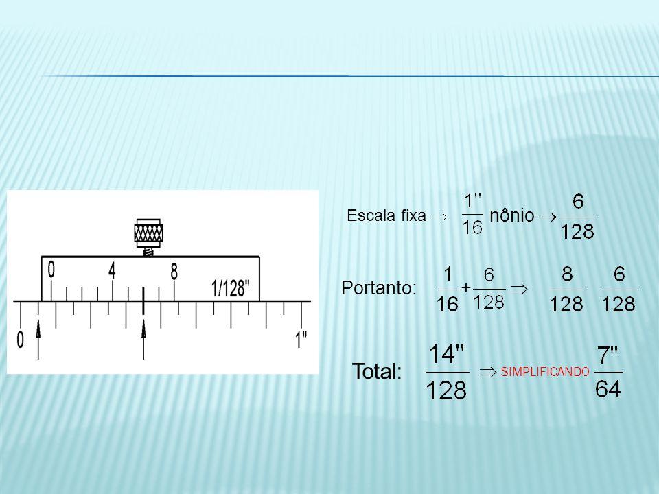 Escala fixa  nônio  Portanto: +  Total:  SIMPLIFICANDO