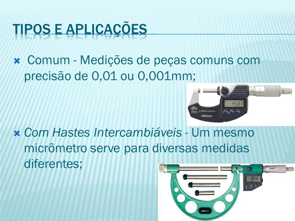 Tipos e aplicações Comum - Medições de peças comuns com precisão de 0,01 ou 0,001mm;